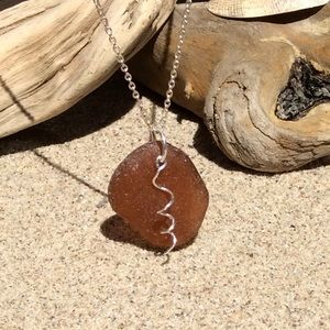 Jewelry - Brown SEAGLASS Necklace with Sterling Wire Twist